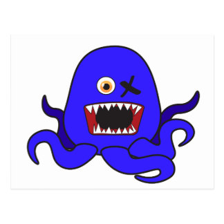 Octo-Monster in blue Postcard