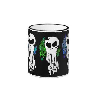 Octo skull green ringer mug