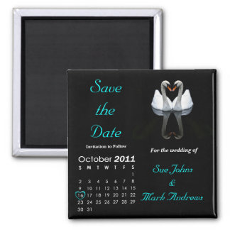 October 2011 Save the Date, Wedding Announcement 2 Inch Square Magnet