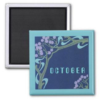 October Art Nouveau Square Magnet by Janz