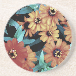 October Autumn Flowers Harvest Thanksgiving Beverage Coasters