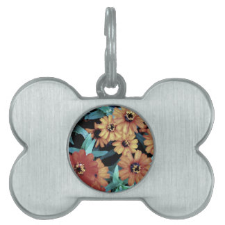 October Autumn Flowers Harvest Thanksgiving Pet ID Tag