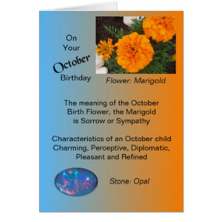 October Birthday Card - Marigold and Opal