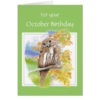 October Birthday, Fall Owl Bird Greeting Card