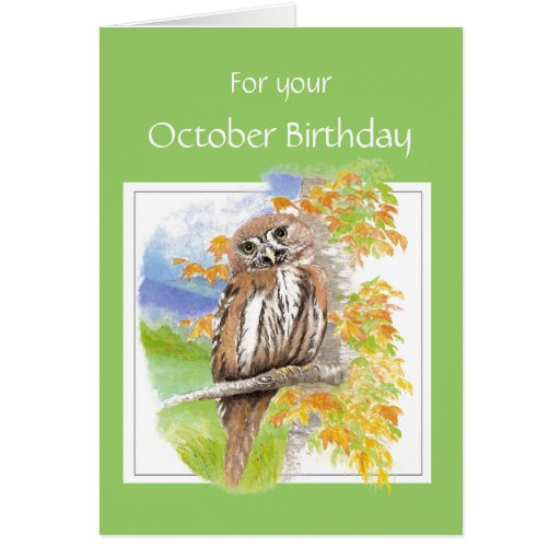 October Birthday, Fall Owl Bird Greeting Cards