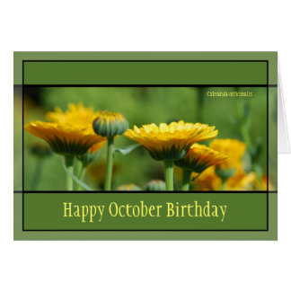 October Birthday Flowers Card