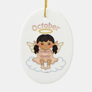 October Birthstone Angel Black Ceramic Ornament