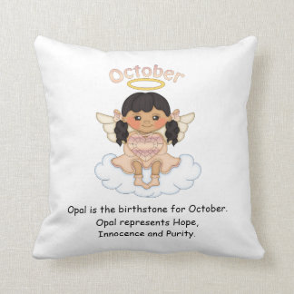 October Birthstone Angel Black Throw Pillow