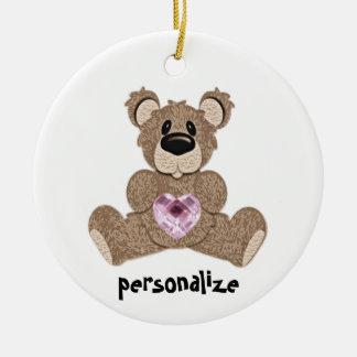 October Birthstone Teddy Bear Ornament