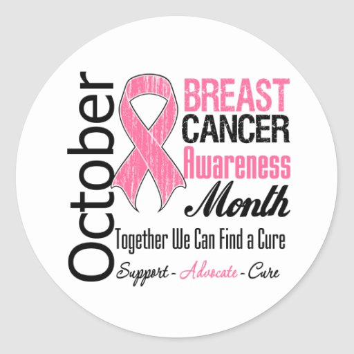 October - Breast Cancer Awareness Month Round Stickers
