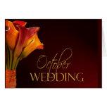 October calla lily wedding design greeting card