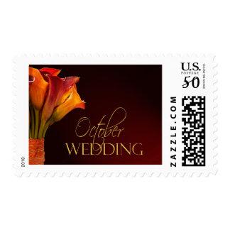 October calla lily wedding design postage