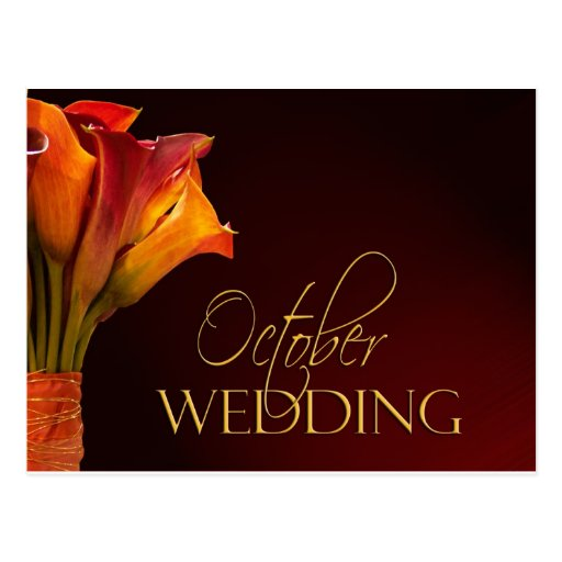 October calla lily wedding design postcard