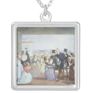 October Celebration in Rome, 1842 Silver Plated Necklace