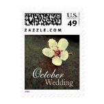 October Cherry Blossom Rust Wedding Postage