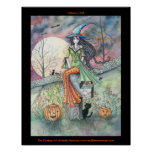October Chill Halloween Witch Cat Poster