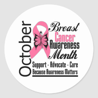 October Commemorate Breast Cancer Awareness Month Round Stickers