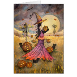 October Fields Halloween Witch and Cats Fantasy Card