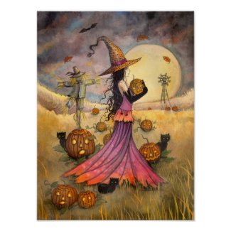 October Fields Witch and Cat Art by Molly Harrison Poster