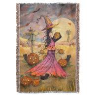 October Fields Witch Cat Halloween Art Throw