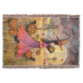 October Fields Witch Cat Halloween Art Throw Blanket