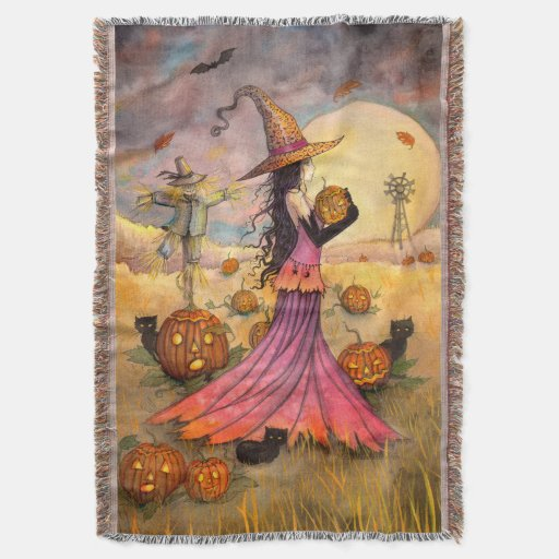 October Fields Witch Cat Halloween Art Throw Blanket