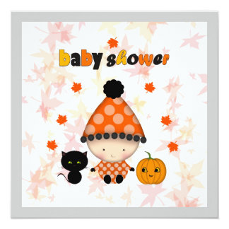 October Halloween Autumn Baby Shower Card