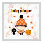 October Halloween Autumn Baby Shower Custom Invitations