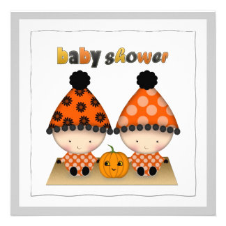 October Halloween Autumn Twins Baby Shower Custom Announcements