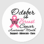October is Breast Cancer Awareness Month Round Stickers