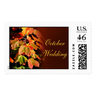 October Leaves Wedding Postage