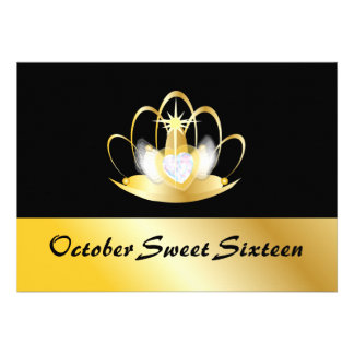 October Lucky Sweet Sixteen-Customize Personalized Announcement
