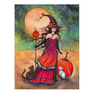 October Moon Witch Cat Halloween Fantasy Art Postcard