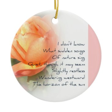 Christmas Themed October Peach Rose Poetry Christmas Ornament