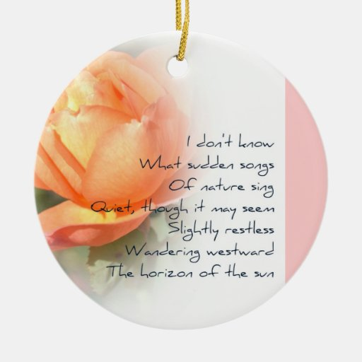 October Peach Rose Poetry Christmas Ornament Zazzle
