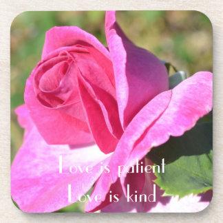 October Pink Rose Coaster Set