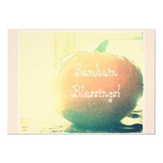 "October Pumpkin Samhain Blessings* 5"" X 7"" Invitation Card"
