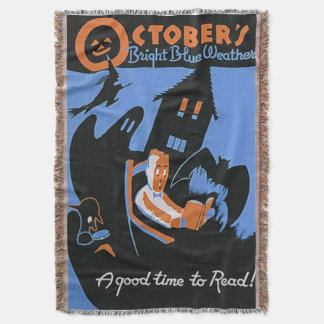 October Reading Library Halloween Poster Throw