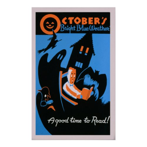 October Reading Library Halloween Vintage WPA