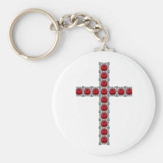 October Ruby Cross Keychain