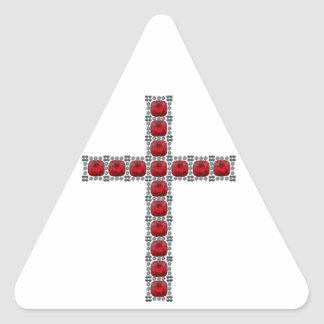 October Ruby Cross Triangle Sticker