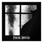 October Showers Black Cat Silhouette At Window BW Invitation