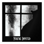 "October Showers Black Cat Silhouette At Window BW 5.25"" Square Invitation Card"