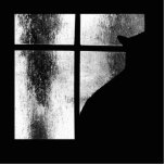 October Showers Black Cat Silhouette At Window BW Cut Out