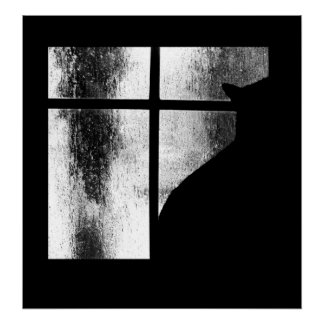 October Showers Black Cat Silhouette At Window BW Poster
