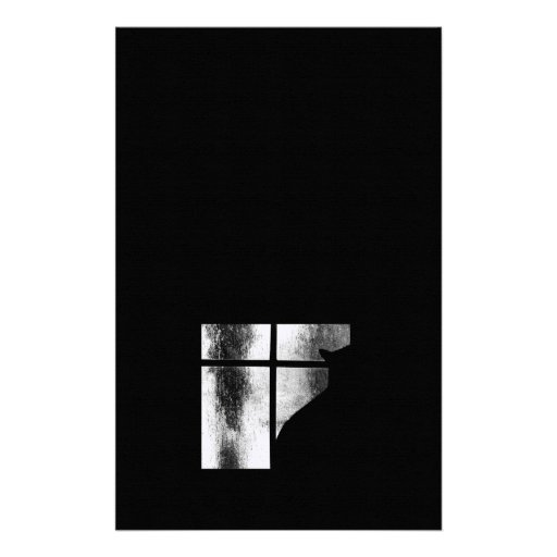 October Showers Black Cat Silhouette At Window BW Stationery