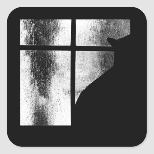 October Showers Black Cat Silhouette At Window BW Stickers