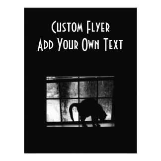 October Showers Cat Silhouette At Window 2 B&W Flyer