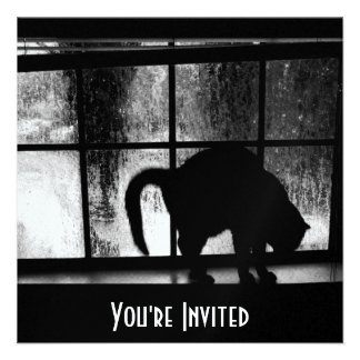 October Showers Cat Silhouette At Window 2 B W Invitation