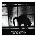 October Showers Cat Silhouette At Window 2 B&W Invitation